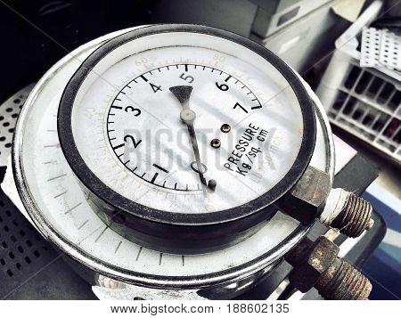 Pile of Old Manometer or Pressure Gauge of Heating System in A Boiler Room.