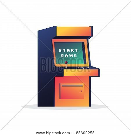 Arcade game machine. Retro video game. Message on the screen start game. Vector illustration on white background