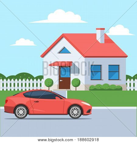 Facade of the house with a car. Traditional cottage in the suburbs. Vector illustration in a flat style