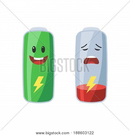 Full and low battery icon. Vector illustration in cartoon style isolated on white background