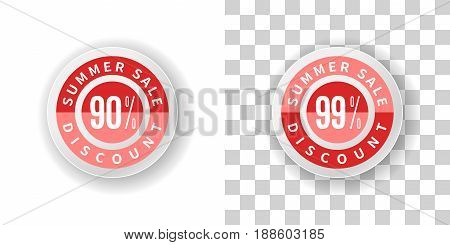 Template Summer Sale Sticker 90 and 99 percent discount in red color.  Round label summer sale with percent discount on white and transparent background with shadow