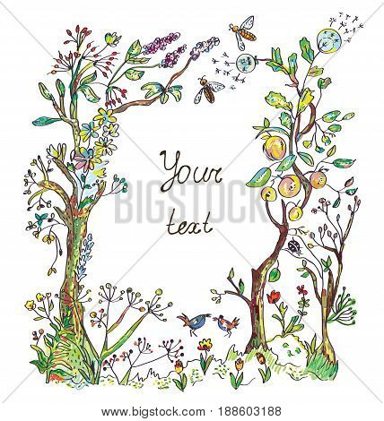 Nature background with trees flowers plants birds and insect for the card or cover. Vector graphic illustration.