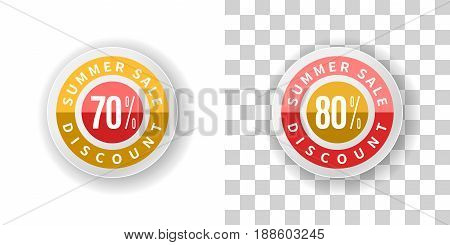 Template Summer Sale Sticker 70 and 80 percent discount in yellow and red color.  Round label summer sale with percent discount on white and transparent background with shadow