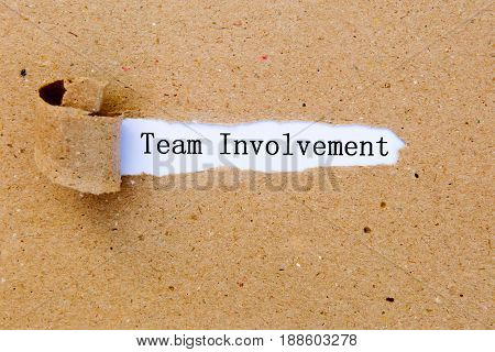 Team Involvement - printed text underneath torn brown paper