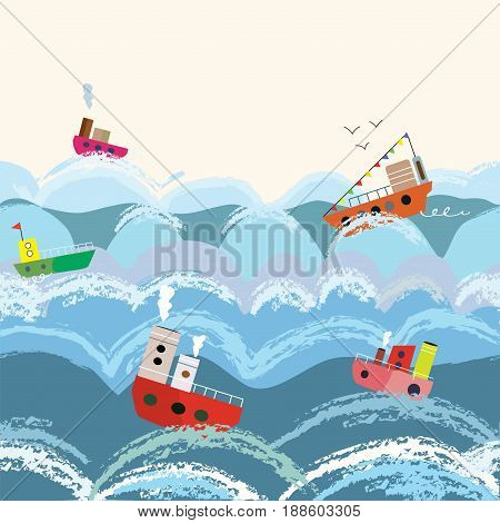 Sea and boats seamless pattern for kids vector graphic illustration