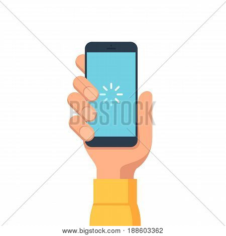 Phone loading icon on the screen. The hand holds a smartphone. Vector illustration in flat style mobile phone isolated on white background