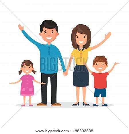 Happy family: mom and dad, daughter and son. Vector illustration in flat style isolated on white background