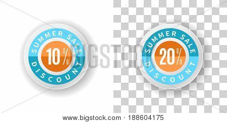 Template Summer Sale Sticker 10 and 20 percent discount in blue and orange color.  Round label summer sale with percent discount on white and transparent background with shadow