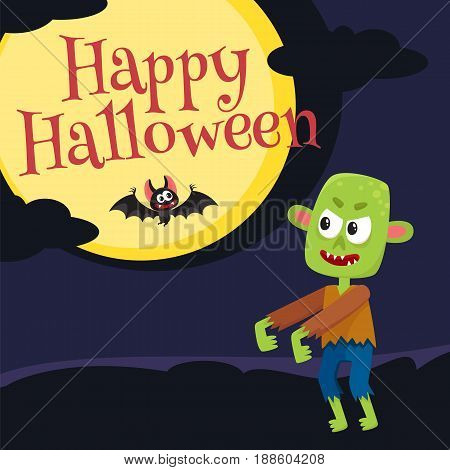 Happy Halloween greeting card, poster, banner design with little green zombie monster, bat, moon and dark night, cartoon vector illustration. Halloween greeting card with little green zombie monster