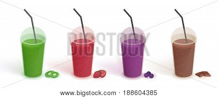 Set of different drinks in plastic cup with lid and straws. Smoothies with blueberries, strawberries, kiwi, chocolate. Realistic vector colorful illustration collection on white background