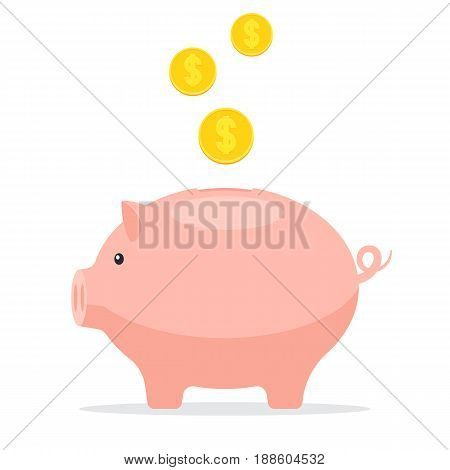 Piggy Bank with coins. Save money concept, to save finances. Vector illustration in flat style isolated on white background