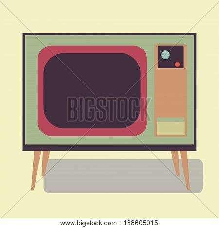 Old TV. Illustration of the good old retro TV without remote control.