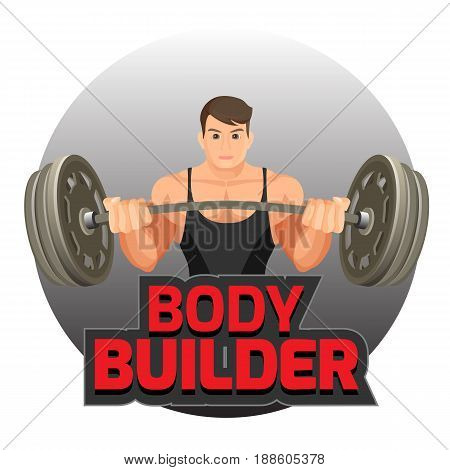 Bodybuilder poster with strong man holding heavy dumbbell vector illustration isolated on white. Logo for bodybuilding studio or sport gym