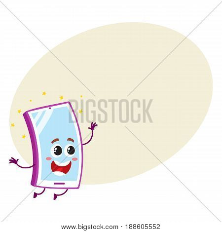 Funny cartoon mobile phone, smartphone character with big eye and wide open mouth jumping happily, vector illustration with space for text. Excited cartoon mobile phone, smartphone character
