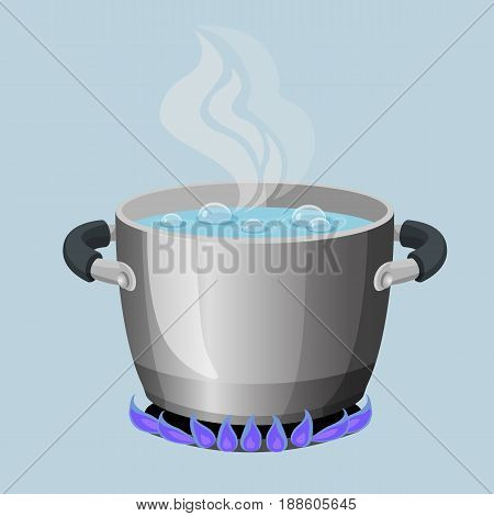 Boiling water in aluminium pot on gas flame realistic vector illustration. Stream from open kitchenware utensils from boiled soup on stove