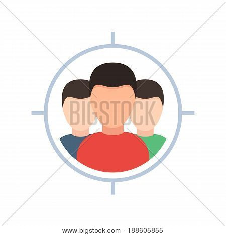 Target audience icon. Vector illustration in flat style, isolated on white background