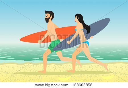 Male and female surfers running on a beach. Man and woman with surfboard isolated on white background