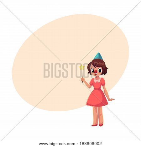 Girl celebrating birthday, holding star stick, wearing clown red nose, cartoon vector illustration with space for text. Full length portrait of little girl in birthday cap with star stick