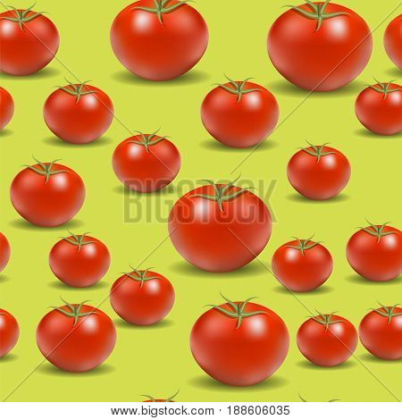 Fresh Red Tomato Pattern on Yellow Background