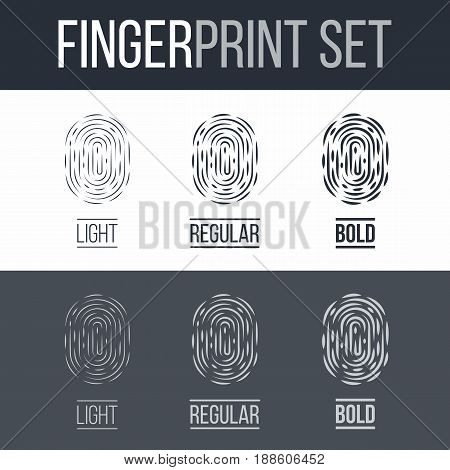 Abstract Set of Fingerprints for Identity Person on Dark and White Background