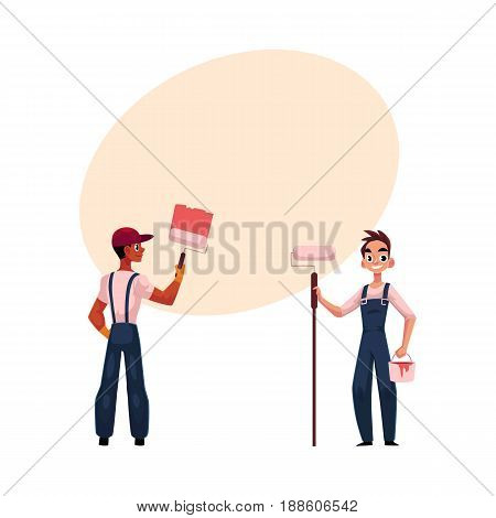 Two painters, black painting wall with big brush, Caucasian holding roller and bucket, cartoon vector illustration with space for text. Two painters, black and white, working together