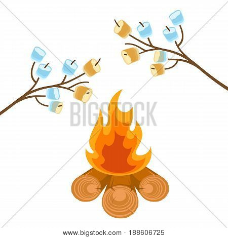 Marshmallow on tree branches cooked on bonfire vector illustration isolated on white. Marshmallows extended over a camp fire to roast.