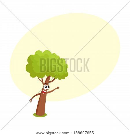 Funny tree character showing, pointing to something with finger, cartoon vector illustration with space for text. Funny tree character, mascot with smiling human face pointing to something