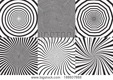 Set of different psychedelic spiral, vortex, twirl. Vector monochrome backgrounds collection