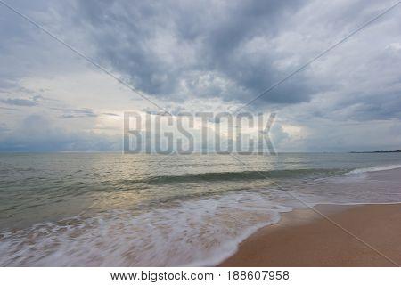 Cha um beach before raining with slow speed shot Thailand