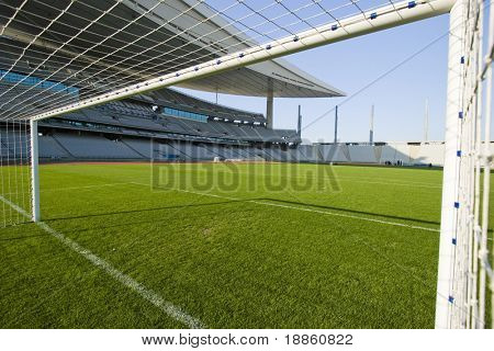 Inside The Goal At The Soccer Field