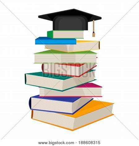 Pile of books with square academic hat on top vector illustration isolated on white background. Book stacked one on another, getting knowledge concept