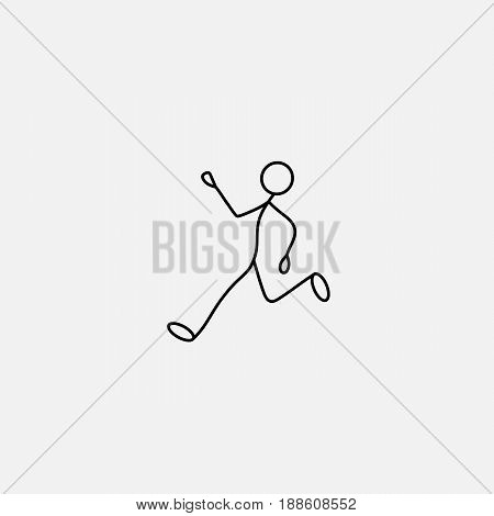 Cartoon icon of sketch little vector man in cute miniature scene