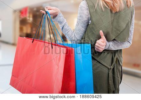 Fashionable Female Showing Thumbup Sign