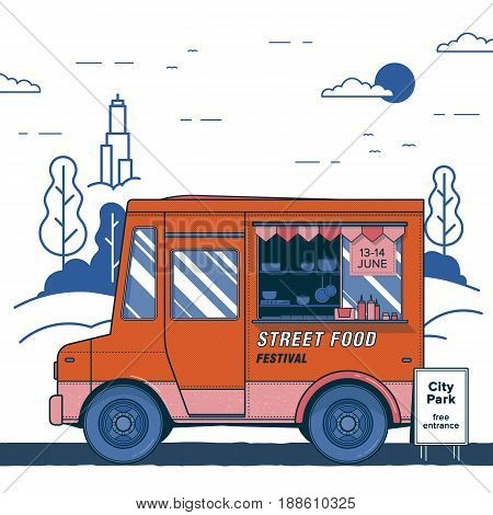 Concept of street food festival. Poster with bright orange food truck. Colorful vector placard