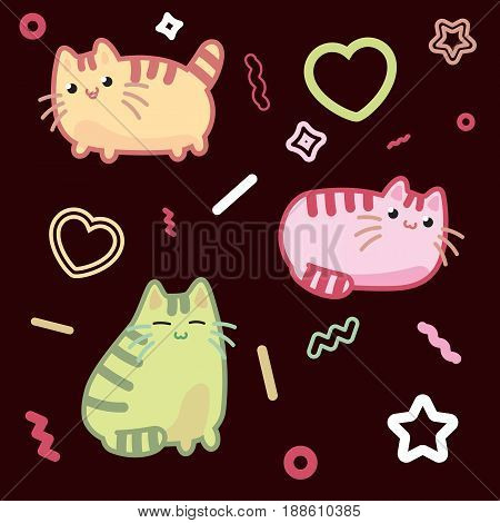 Cat kawaii style, kitten, kitty, pet vector on dark background. Decorative bright colorful design elements in doodle japanese style isolated. Vector illustration