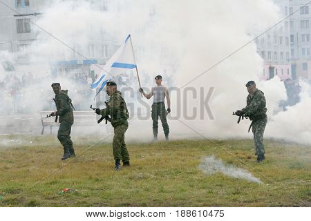 Gadjievo, Russia - September 29, 2007: Soldiers of the Russian Marine Corps perform in the town square