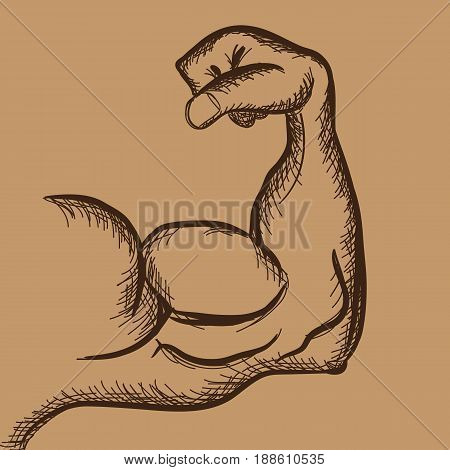 Strong power muscle arm with trendy hand drawn sketch style. Illustrated vector