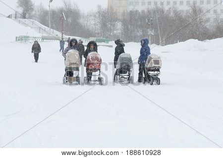 Gadjievo, Russia - February 18, 2010: Young mothers are walking with strollers in a snowstorm