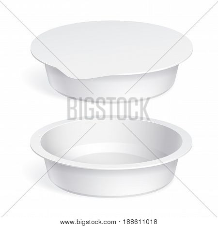 Slim White blank plastic container for yogurt jams and other products. Vector illustration