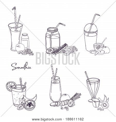 Different smoothie set. Collection of various summer drinks with fruits, berries, vegetables. Hand drawn vector illustration