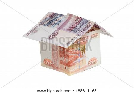 The house made from various Russian banknotes