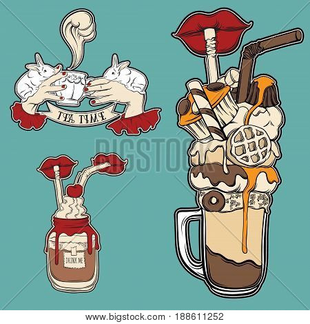 Vector set of fashion food badge in surrealism hand drawn style. Trendy artwork with sweet drinks collection. Template for card poster banner label print for t-shirt