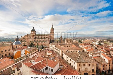 Aerial view of the historic city of Salamanca at sunrise Castilla y Leon region Spain