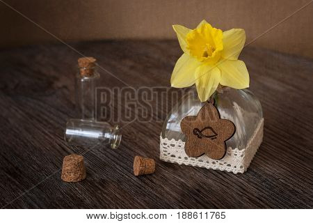 Still life with Narcissus and small bottles. Narcissus in a bottle on a wooden table.