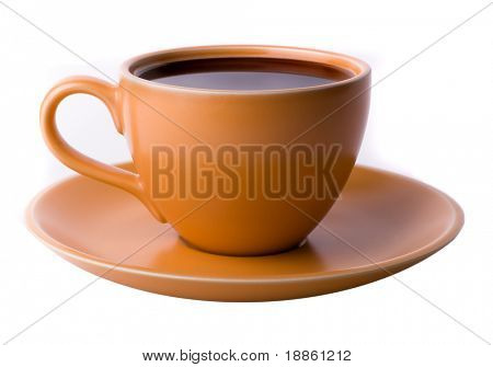 Orange coffee cup isolated on white