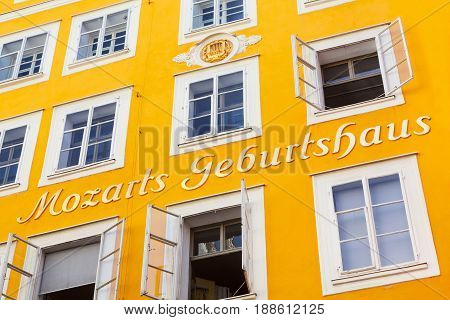 SALZBURG AUSTRIA - AUGUST 28: Birthplace of Wolfgang Amadeus Mozart on August 28 2012 in Salzburg Austria. Mozart is known to be one of the most brilliant composers of the Classical Era.