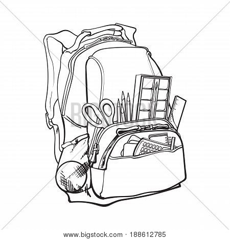 Backpack packed with school items, supplies, black and white sketch style vector illustration isolated on white background. School bag, backpack staffed with personal belongings, school items