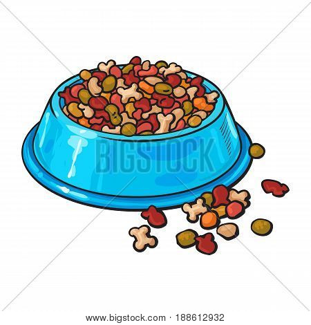 Blue shiny plastic bowl filled with dry pelleted food for pet, cat, dog, sketch vector illustration isolated on white background. Hand drawn bowl, plate filled with dry pet, dog, cat food