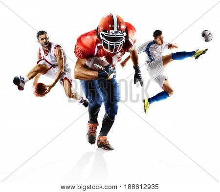 Multi sport collage professional soccer american football bascketball players in action isolated on white
