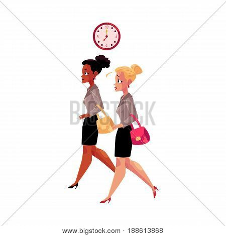 Young businesswomen, black and Caucasian, hurrying to work in morning, cartoon vector illustration isolated on white background. Black and Caucasian businesswomen hurrying to work, clock showing time